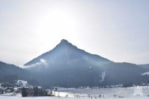 Rodelbahn mit Ausblick auf Bergpanorama